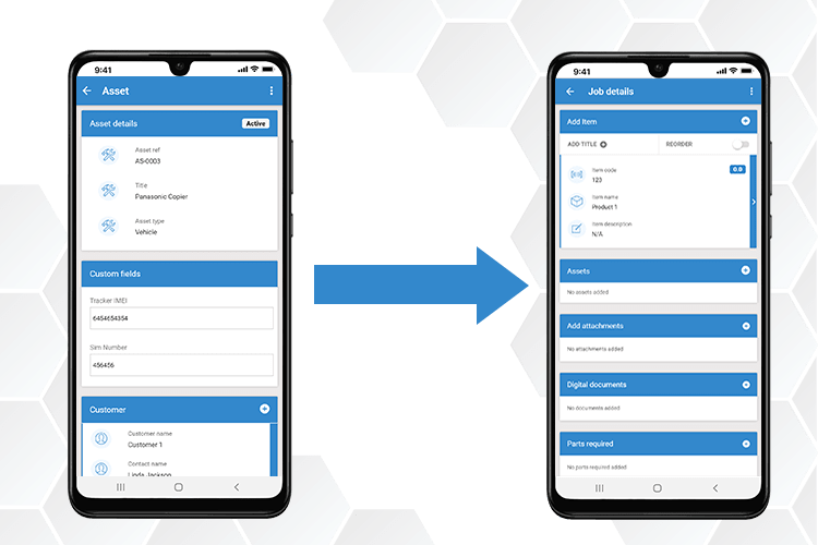 Mobile Asset Management - Assign assets to quotes, jobs and invoices